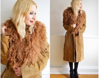 Vintage wild leather jacket - boho, hippie, 70, M
