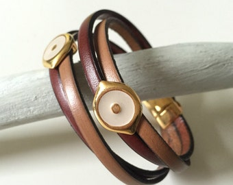 Brown and Beige Leather Eyes Bracelet