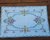 Swedish vintage hand embroidered cotton tablecloth, table runner with cross stitch flowers scandinavian design midcentury modern
