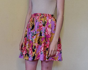 Vintage 80s 90s Pink Floral Pleated Mini Circle Skirt Size 6