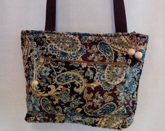 Brown/Teal/gold thread Paisley quilted shoulder purse