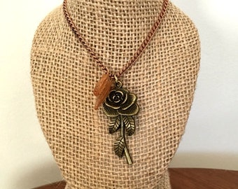 Flower and Leaves Charmed Necklace