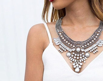 Bohemian Statement Necklace | Chunky Silver Necklace | Crystal Statement Collar Bib Necklace