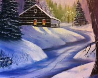 14 x 18 Original Oil Painting on Canvas Board......Cabin in the Woods