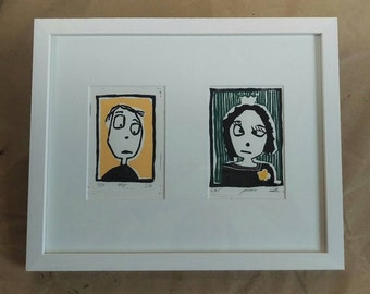 Linocut Boy and Girl (incl. Passepartout)