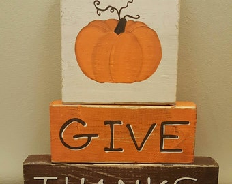 Give Thanks - Wood blocks - with Pumpkin
