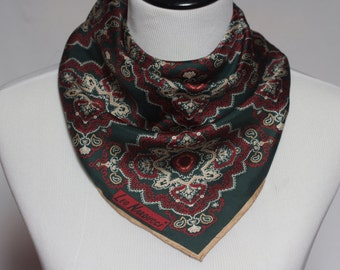 Vintage Leo Narducci Silk Scarf, Square Scarf, Neck Scarf, Head Covering, Head Scarf Hair Wrap, Green Scarf, Pattern Scarf, Silk Neck Scarf