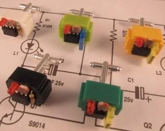 Electronic component steampunk cufflinks (orange breadboard)