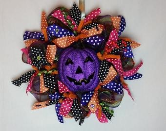 Deco Mesh Halloween Pumpkin Wreath, Pumpkin Wreath, Jack-O-Lantern Wreath