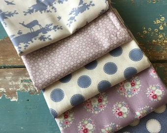 Tilda Autumntree Blue Fabric Bundle 5 x Fat quarters