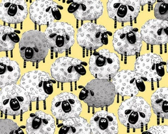 """Susybee Fabric : Lewe, the ewe - Sheep all over yellow Fabric 100% cotton fabric by the yard 36""""x42"""" (A24)"""