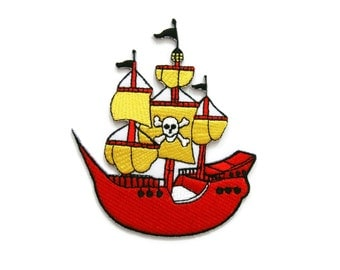 Pirate Ship Embroidered Applique Iron on Patch 8.5 cm. x 10 cm.