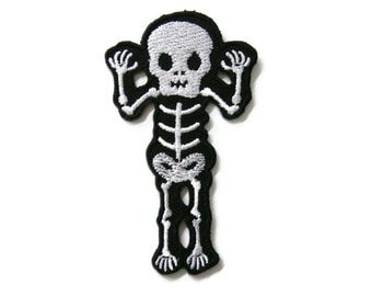 Skull Skeleton Bone Ghost Biker Embroidered Applique Iron on Patch 4.3 cm. x 7.4 cm.