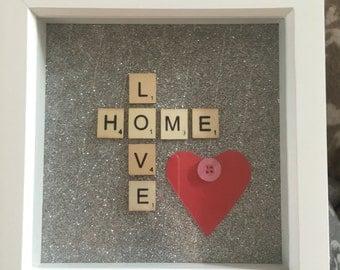 Gorgeous sparkly love/home box frame