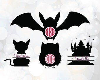 Halloween monogram SVG - Bat, Cat, Owl, House Monogram Clipart - Halloween Monogram dxf Cutting File for Cricut - Halloween Clipart SVG, dxf