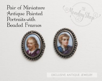 Pair of Miniature Antique Painted Portraits with Beaded Frames