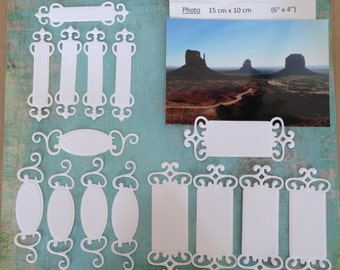 tags / labels - spellbinders fancy tags - lot of 15 cuts - white tags cutouts 15 pcs
