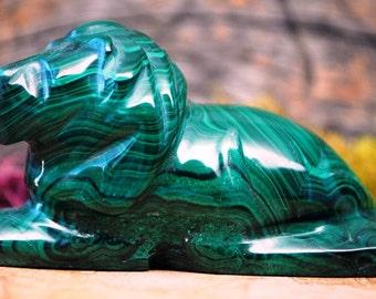 Malachite Crystal Lion Sculpture - Stone Animal Figurine-  1173.59