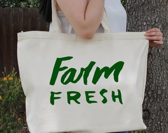FARM FRESH~ Large Canvas Tote Beach/Grocery BAG