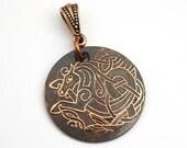 Copper Celt sea horse pendant, etched and antiqued metal Celtic seahorse, optional necklace, 25mm