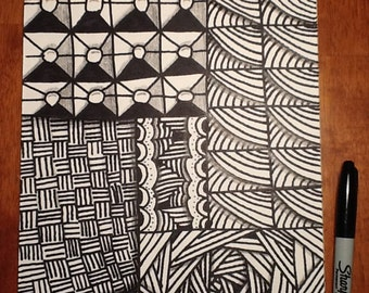 Black and white Zentangle inspired art