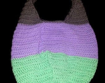 Large hand crocheted market bag - beach tote - reusable grocery bag