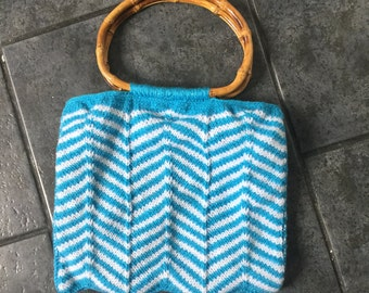Hand knitted blue and white wool bag