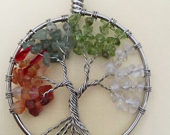 Multicolored Gemstones Tree of Life Necklace Pendant