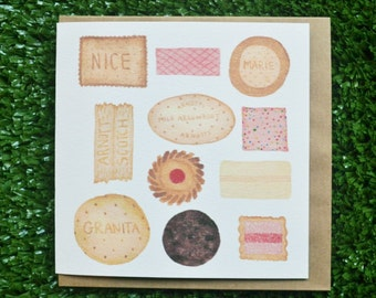 Biscuit Watercolour greeting Card