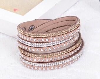 Crystal Swarovski Elements Leather Strap Bracelet Light Brown