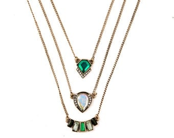 Emerald Palm Gold Layered Necklace