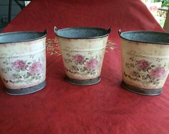 Paris Mini Tin Buckets