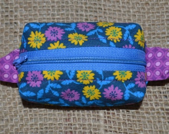 Tiny Zippered Pouch - Key Ring Fob - Handmade