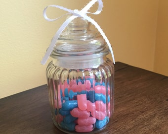 Set of Six Mini Glass Candy Favor Jars