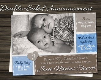 Big Brother / Big Sister Birth Announcement - Brown & Blue - Sepia - Boxes DIGITAL FILE Announcement
