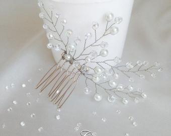 Bridal Hair Comb, Wedding Hair Comb, Pearl and Crystal Hair Comb, Wedding Hair Accessories, Bridal Headpiece