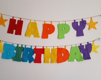 Colourful happy birthday banner. Colourful happy birthday bunting. Personalised happy birthday banner/bunting. Reusable birthday banner