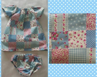 Baby girl outfit, matching dress and knickers in 0-3 months - 18-24 months