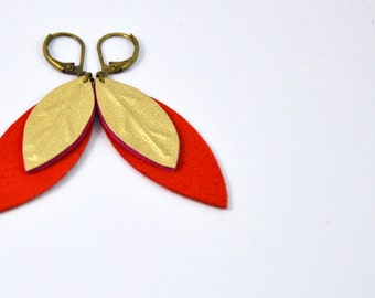 "Earrings ""leaves"" clementine leather (side suede) and gold"