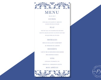 Printable wedding invitation - PDF - Menu, blue and white tiles