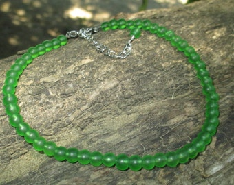 Beaded choker,beaded chocker, sea glass choker, green choker, beaded choker necklace