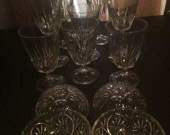 Classic drinking glasses with dessert bowls