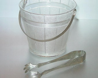 Vintage Barrel Textured Glass Ice Bucket with Silver Hammered Handle and Tongs Retro Barware