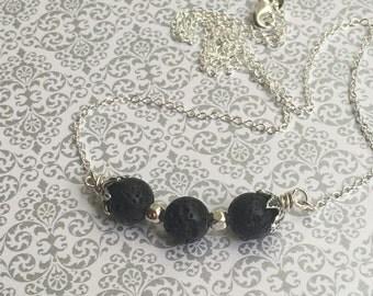 Sterling Silver Black Lava Stone Essential Oil Necklace