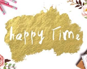 Happy Time - Script fonts - digital font bundle Script Calligraphy Font Download