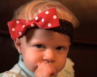 headband red and white polka dot