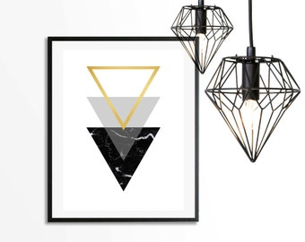 Black Marble Triangle Gold Art Print - Instant Digital Download