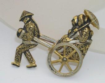 Vintage Damascene Style Rickshaw Figural Brooch/Pin With Moving Wheel--Spain