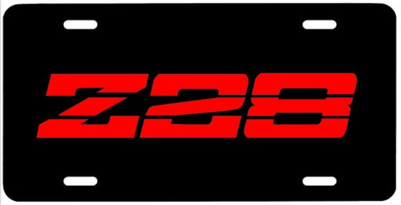 z28 metal license plate 3g red emblem camaro iroc tuned port