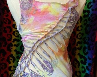 S/M Tye dye with purple flower